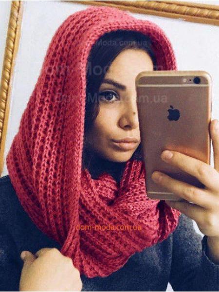 Женский вязаный шарф хомут