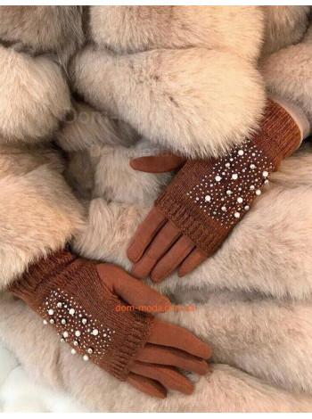 """Жіночі рукавички мітенки """"Стрази"""""""