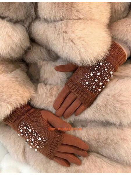 """Женские перчатки митенки """"Стразы"""""""