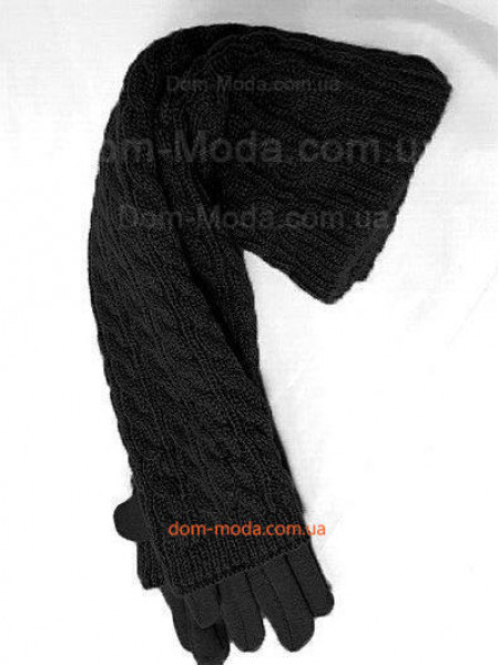 Зимові довгі рукавички мітенки