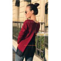 Женская шифоновая блуза с кружевной спиной