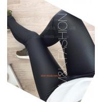 Женские черные лосины из стеганой кожи