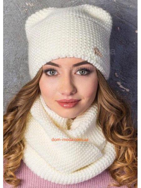 Теплая вязанная шапка с ушками на флисе