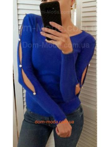 Однотонна жіноча кофта із прорізами на рукавах