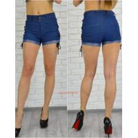 Стильные короткие джинсовые шорты на шнуровке