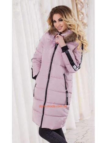 """Зимнее теплое пальто с капюшоном и мехом """"На пятерочку"""""""