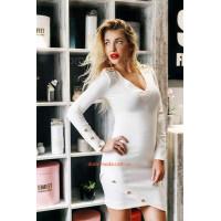 Короткое трикотажное платье с длинным рукавом и пуговицами