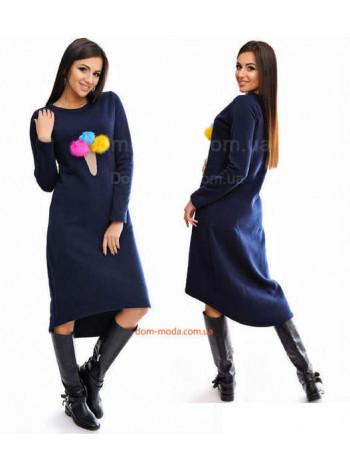Стильное женское платье с помпонами