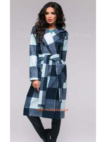 Женское стильное пальто в крупную клетку