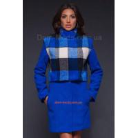 Женское модное пальто со съемным балеро в клетку