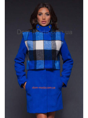 Женское модное пальто со съемным болеро в клетку