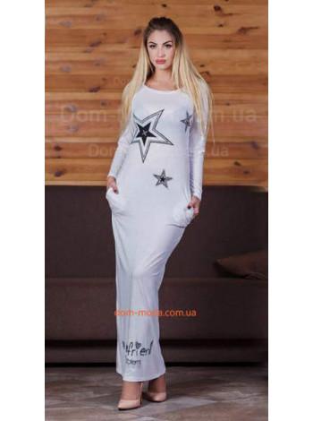 Женское макси платье с рисунком звезд
