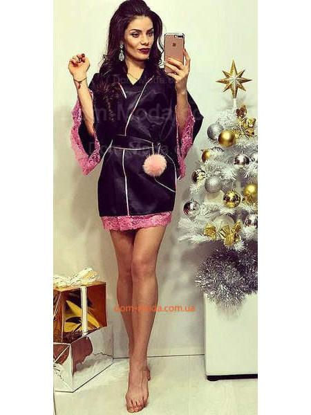 Женский домашний атласный халат с кружевом