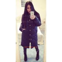 Модне зимове пальто на ґудзиках за коліно