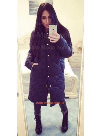 Модное зимнее пальто на пуговицах за колено