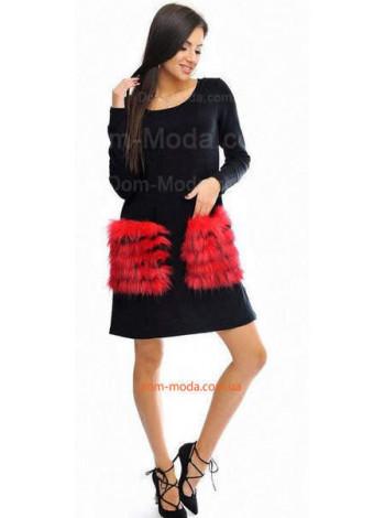 Женское модное платье с накладными меховыми карманами