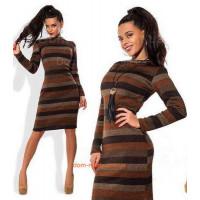 Модне повсякденне вовняне плаття зі поперечними смужками