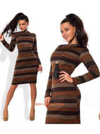 Модное повседневное шерстяное платье с поперечными полосками
