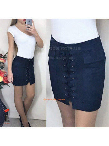 Короткая женская юбка с переплетом