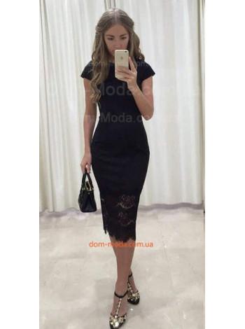 Женское стильное черное платье с кружевом и небольшим рукавчиком