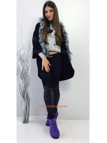 Жіноче модне пончо із ангори з хутром