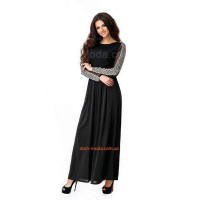 Довге жіноче плаття із відкритою спиною і довгим рукавом