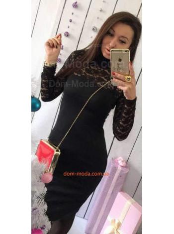 Женское трикотажное платье с длинным рукавом и гипюром