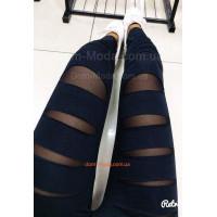 Женские черные стильные лосины со вставками из сетки