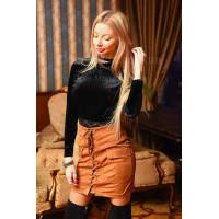 Модная короткая женская юбка на шнуровке