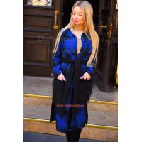 Женское кашемировое пальто с накладными меховыми карманами