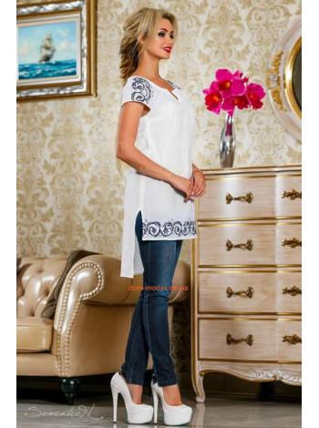 Стильная женская белая туника с небольшим рукавом