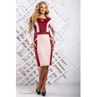 Женское прямое платье большого размера с брошкой