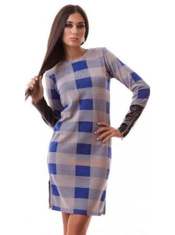 """Женское модное платье с кожаными рукавами """"Аурель"""""""