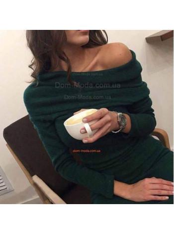 """Женское теплое платье с открытыми плечами """"Ирис"""""""