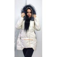 """Удлиненная теплая куртка с капюшоном и мехом """"Чернобурка"""""""