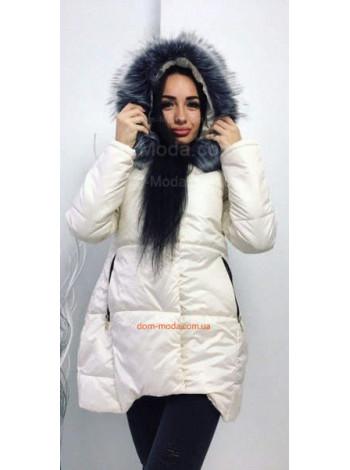 """Подовжена тепла куртка із капюшоном і хутром """"Чернобурка"""""""