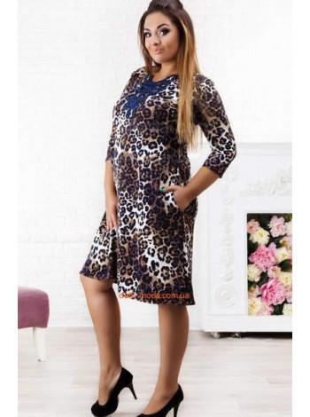 """Леопардове жіноче плаття великого розміру з мереживом """"Лео"""""""