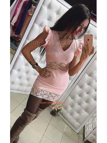"""Модное женское короткое платье с гипюром """"Аврора"""""""