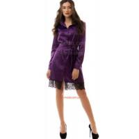 Жіноча атласна сукня рубашка із мереживом