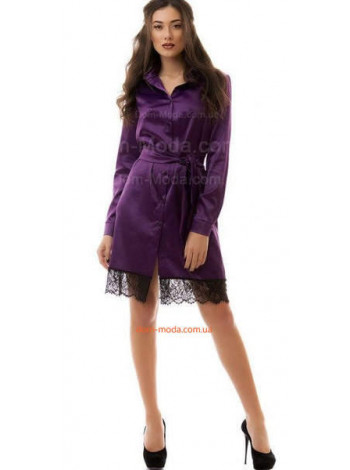 Женское атласное платье рубашка с кружевом