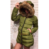 Модна подовжена куртка із капюшоном і вушками