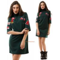Молодіжне модне плаття із коротким рукавом і високим горлом