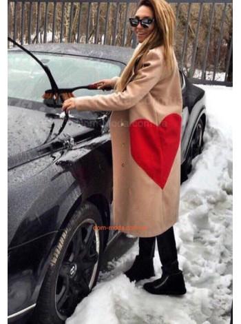 Женское кашемировое пальто с принтом сердце