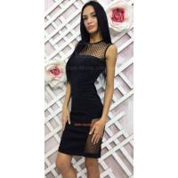 Вечірнє ефектне жіноче плаття футляр зі вставками в горошок