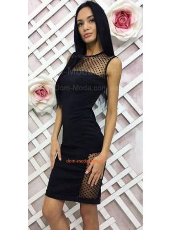 Вечернее эффектное женское платье футляр со вставками в горошек