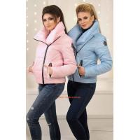 Жіноча модна коротка куртка із високим коміром