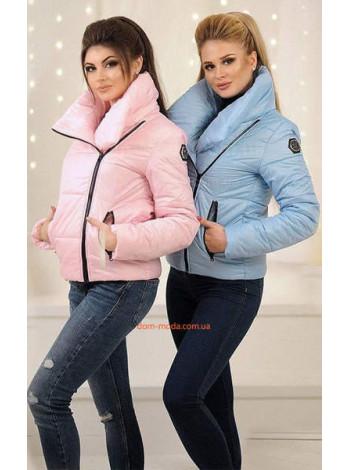 Женская модная короткая куртка с высоким воротом