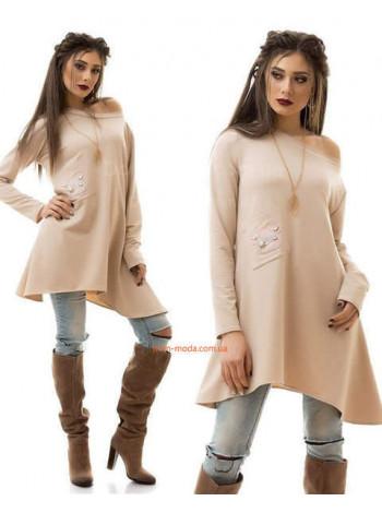 Женская модная туника платье с нашивкой и длинным рукавом