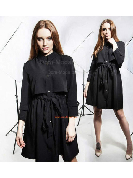 Модный женский черный плащ