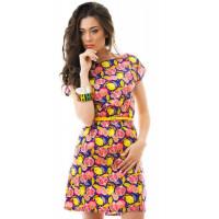 Стильное короткое женское платье с тоненьким пояском